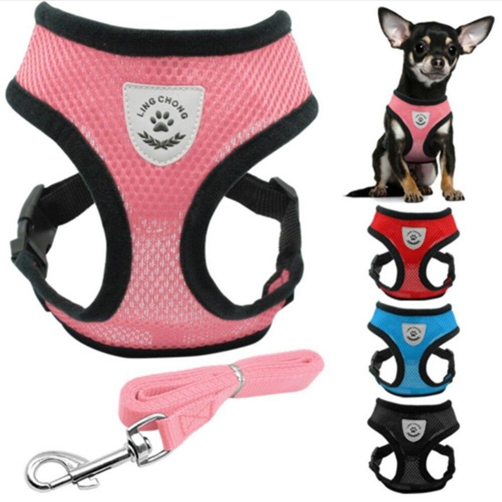 Ademend Mesh Kleine Hond Pet Harness en Leash Set Puppy Kat Vest Harnas Kraag Voor Chihuahua Pug Bulldog Kat arnes perro
