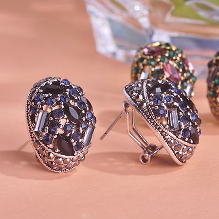 Blucome Vintage Stud Earrings For Women Girls French Hooks Max Brincos Ouro Joias Full Crystal Turkish Jewelry Retro Pendientes