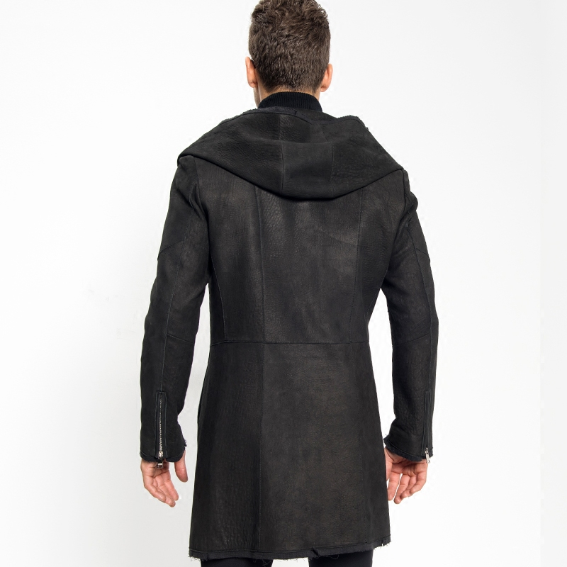 382730606aeb Smart Casual Men's Hooded Leather X long Coat 100% Sheepskin Luxury Leather  Jacket Military Style Black Leather Slim Long Parka -in Genuine Leather  Coats ...