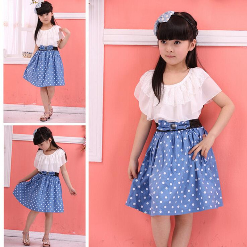 2018 girls summer ruffles baby girl clothes polka dot kids clothes girls dresses children's chiffon princess dress 6-12 years 2pcs ruffles newborn baby clothes 2017 summer princess girls floral dress tops baby bloomers shorts bottom outfits sunsuit 0 24m