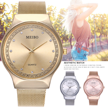 New Arrival Luxury Rose Gold Watch Casual Women Rhinestone Quartz Watches Fashion Mesh Wristwatch Women reloj digital mujer