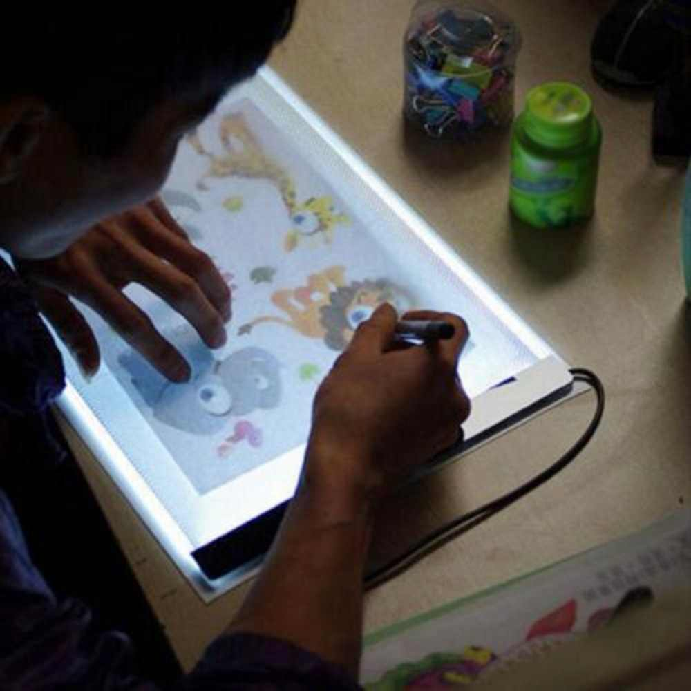 Ультра тонкий A4 светодиодный регулируемый отслеживающий чертежный щит, светильник для тату, коробка с подсветкой, копировальная доска A4 светодиодный светильник, коврик, бесплатная доставка
