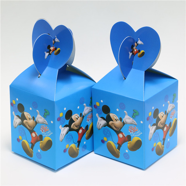 4c0865ead517 6PCS Mickey Mouse Supplies Paper Bags Baby Shower Souvenirs Gift Box Favor  Candy Kids Birthday Party