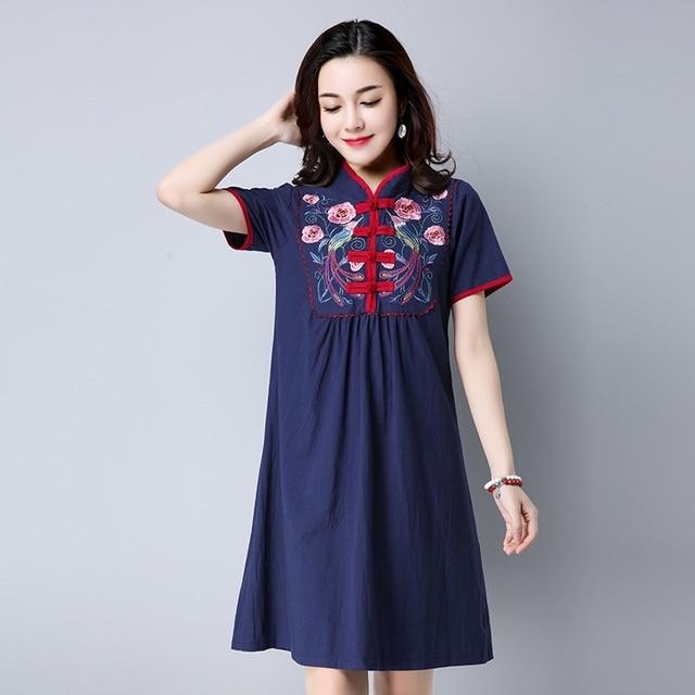 2017 New Summer Dress Loose Plus Size Short Sleeve National wind embroidery Office Women Dress  Vestidos Robe