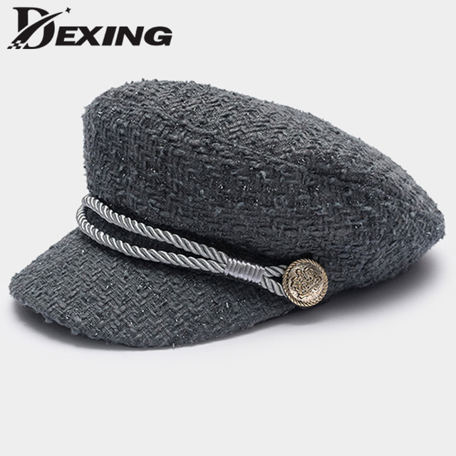 4c77a8845ae40 2018 Gold Rope Visor Beret women hats Thread Tweed Military hat ladies  Vintage Fshion England style