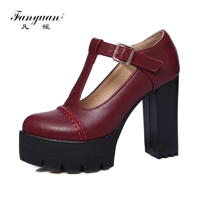 Size 34-43 Fanyuan New Spring Women Platform Sexy Working Super High Thick Heel T-Strap High Quality PU Women Pumps Office Shoes