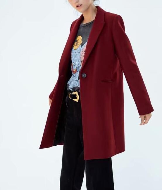 Las mujeres de invierno rojo largo abrigo de lana, una elegante botón Oversize Parka abrigo cappotto donna abrigos para mujer invierno 2019 - 3