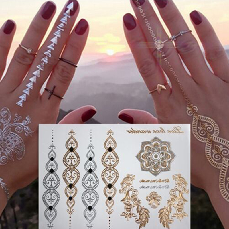 2pcs Lot Summer Style Men Women Body Art Gold Metallic Tattoo Sticker Chain Bracelet Fake Jewelry Waterproof Temporary Sticker Party Diy Decorations Aliexpress