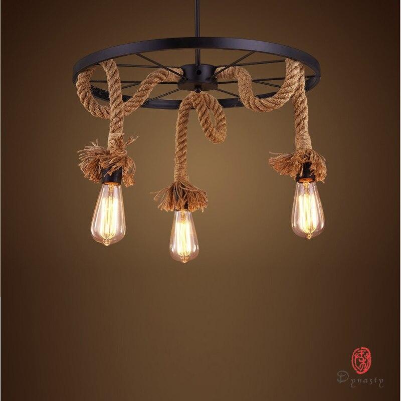 Dinastia de Arte Decorativa Natural Estilo Loft Pendant DIY Lâmpada Edison Corda Luzes de Suspensão Da Velha Escola Do Vintage Restaurante Coffee Shop