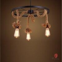 Dynasty Art декоративный натуральный Лофт стиль экспериментальный подвесной светильник веревка Эдисона подвесные светильники винтажный Стары