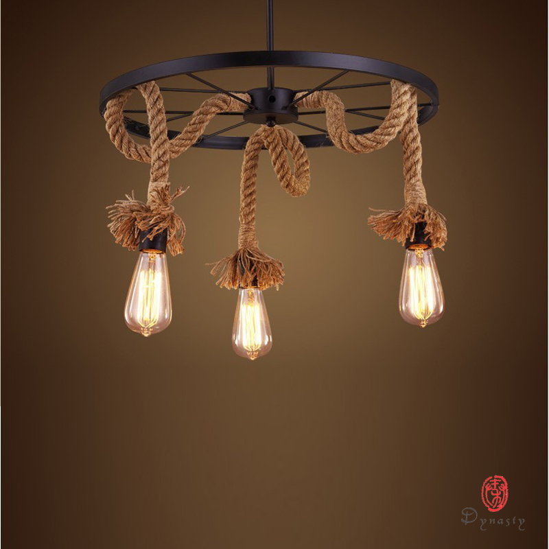 Dynasty Art Decorative Natural Loft Style Diy Pendant Lamp Rope Edison Hanging Lights Vintage Old School Restaurant Coffee