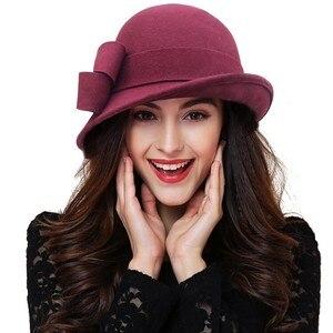 Image 5 - Kadın parti resmi şapkalar bayan kış moda asimetrik ilmek 100% yün keçe şapkalar