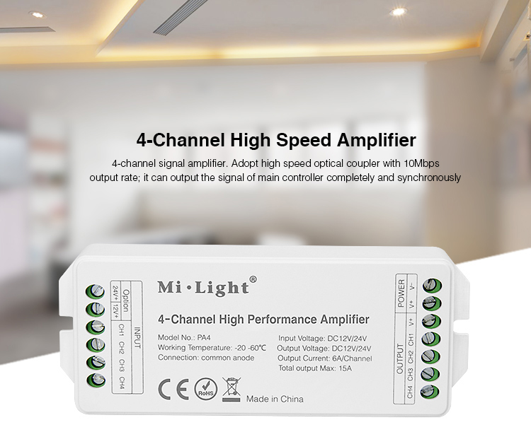 Mi Light PA4 4-Channel High Performance Amplifier DC 12V 24V 6A/Channel 15A High Speed Single Color RGB RGBW LED Strip Amplifier high performance plc xcc 32t e 5 channel ab phase high speed counter 5 channel high speed pulse output ac220v new