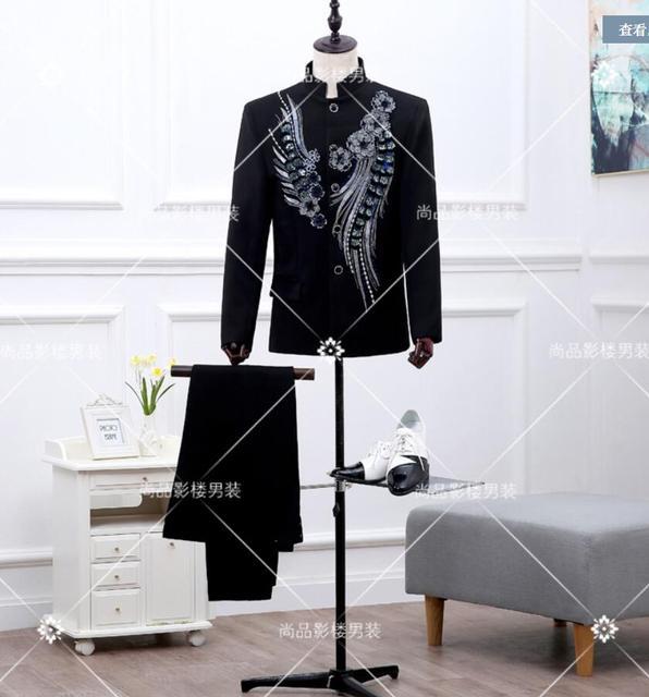 2017 últimos diseños bragas de la capa de La Vendimia nacional tendencia traje masculino túnica china traje de trajes de boda para hombres (suit + pant)