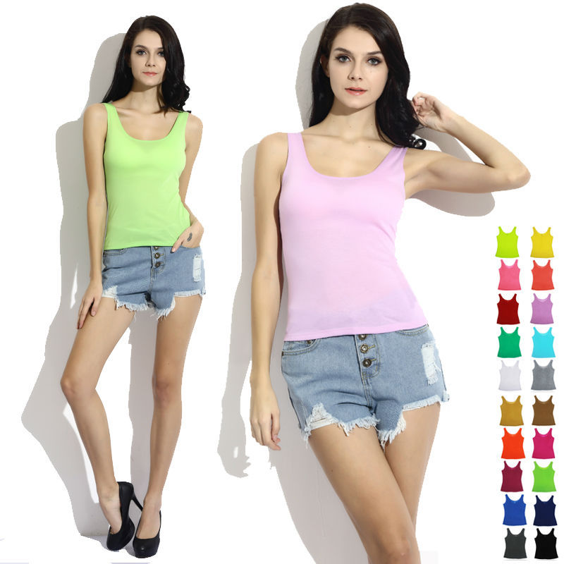 New Summer Women Tanks Tops Candy Color Casual Sleeveless O-neck Woman's Tank Tees Solid Sexy Vest T -Shirts
