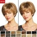 Короткие Парики Человеческих Волос Для Женщин Элегантный MAYSU Склонны Взрыва Классический Бразильский Виргинский Волосы Светлые парик Монолитным Европейский Стиль