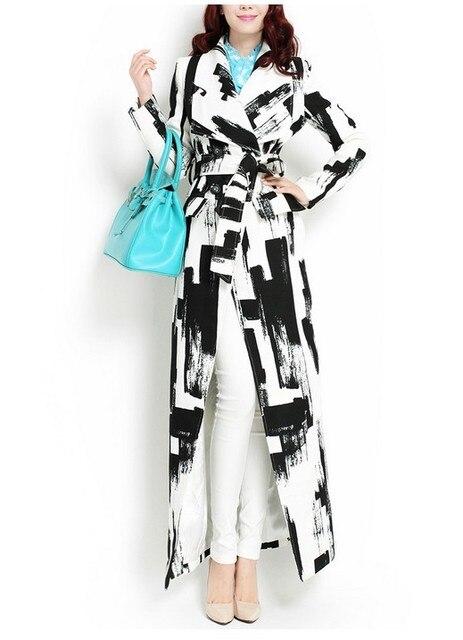 2017 Новый дизайн моды черный и белый геометрический большой лацкане пальто тонкий осень длинные пиджаки плюс размер долго дизайн траншеи пальто