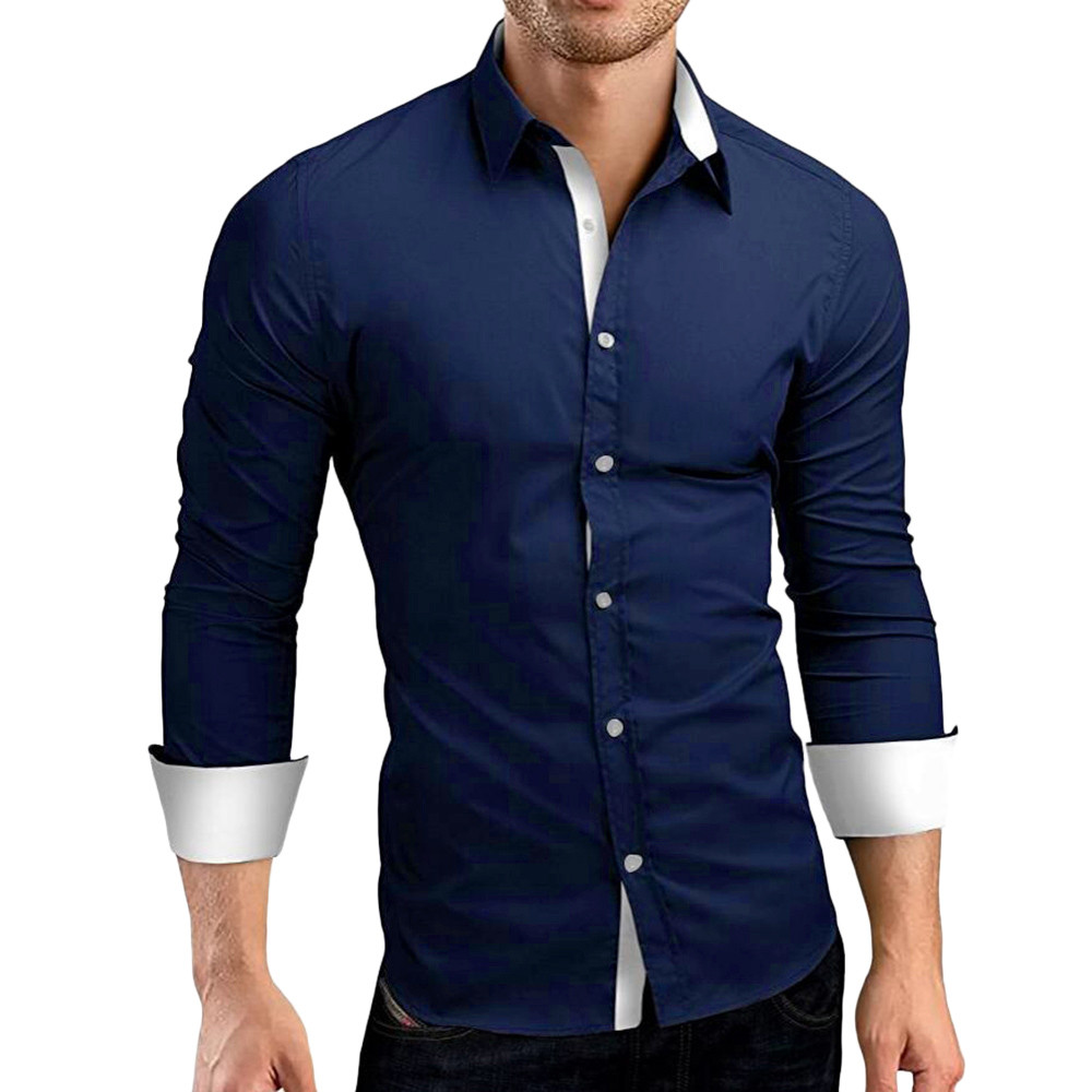 HTB1QkxnXvLsK1Rjy0Fbq6xSEXXad - #4 DROPSHIP 2018 NEW HOT Fashion Men's Autumn Casual Formal Solid Slim Fit Long Sleeve Dress Shirt Top Blouse Freeship