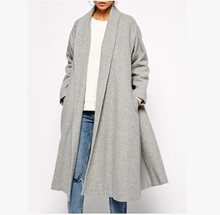 2016 Autumn Winter Women Gray Lapel Pocket Longline Coat Fashion Ladies Cardigans Streetwear Casual Loose Trench Outwear
