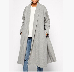 2017 Autumn Winter Women Gray Lapel Pocket Longline Coat Fashion Ladies Cardigans Streetwear Casual Loose Trench Outwear