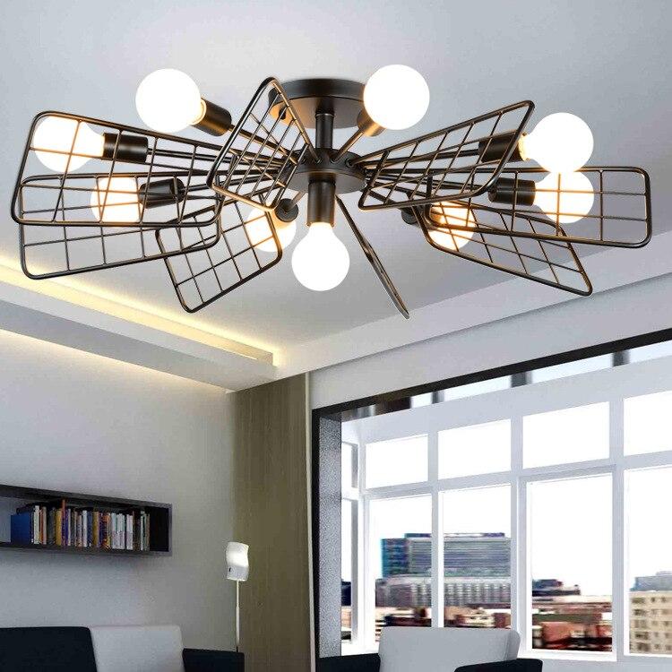 Nordic originality black personality ceiling lamp living room bedroom retro windmill simple modern iron <font><b>fan</b></font> ceiling lamp