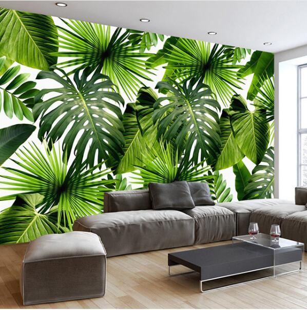 Custom 3D Mural Wallpaper Southeast Asia Tropical Rainforest Banana Leaf Photo Background Wall Murals Canvas Wallpaper Modern
