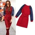 Hot venda nova chegada 2014 victoria estilo dress puff luva das mulheres vestidos de outono inverno elegante patchwork laço ly895