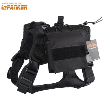 EXCELLENT ELITE SPANKER Outdoor Tactical Dog Clothes Suit Military Training Molle Dog Vest Set Harness Pets Hunting Accessories