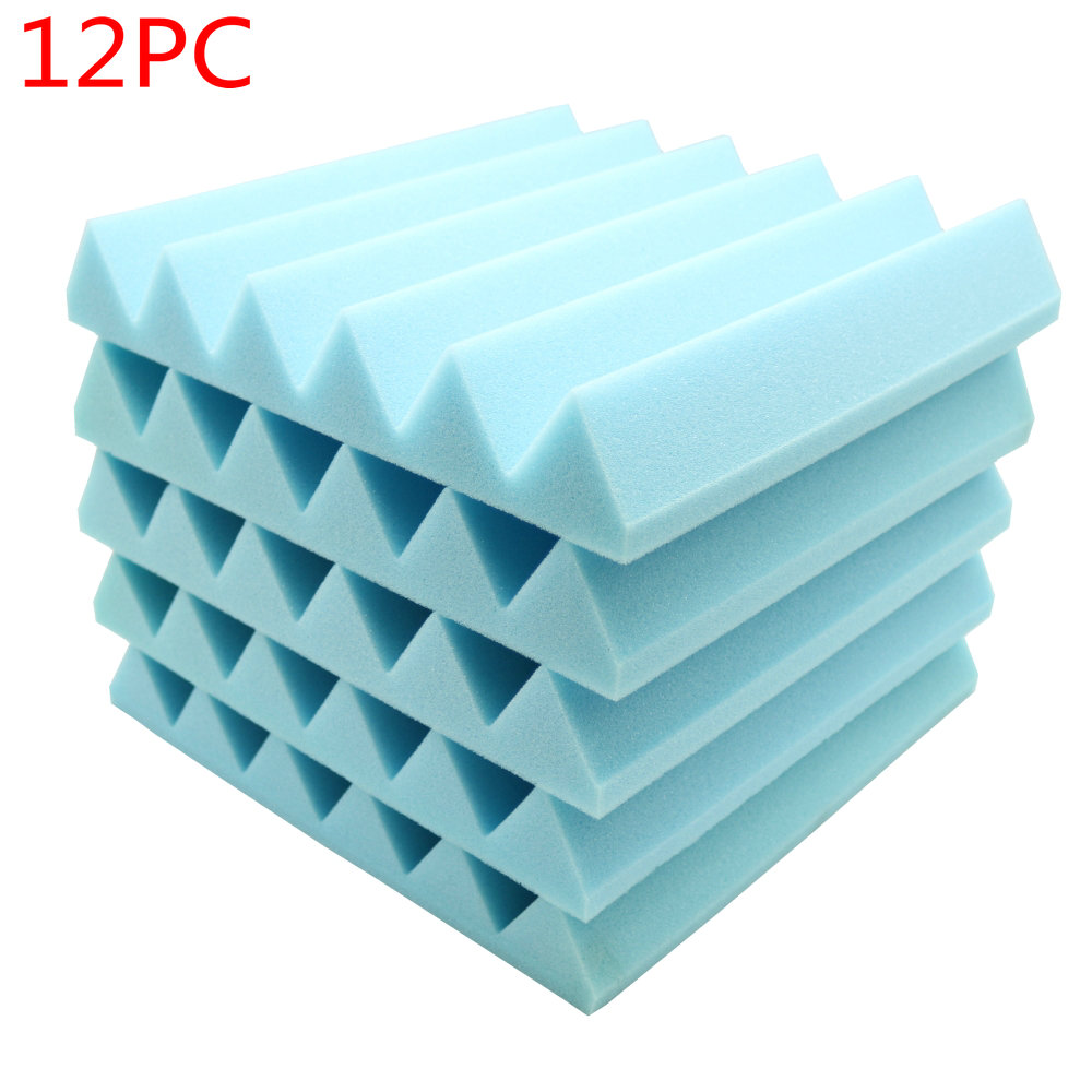 12 pcs Acoustic Soundproof Stop Absorption Wedge Studio Foam 12x 12x2 Blue
