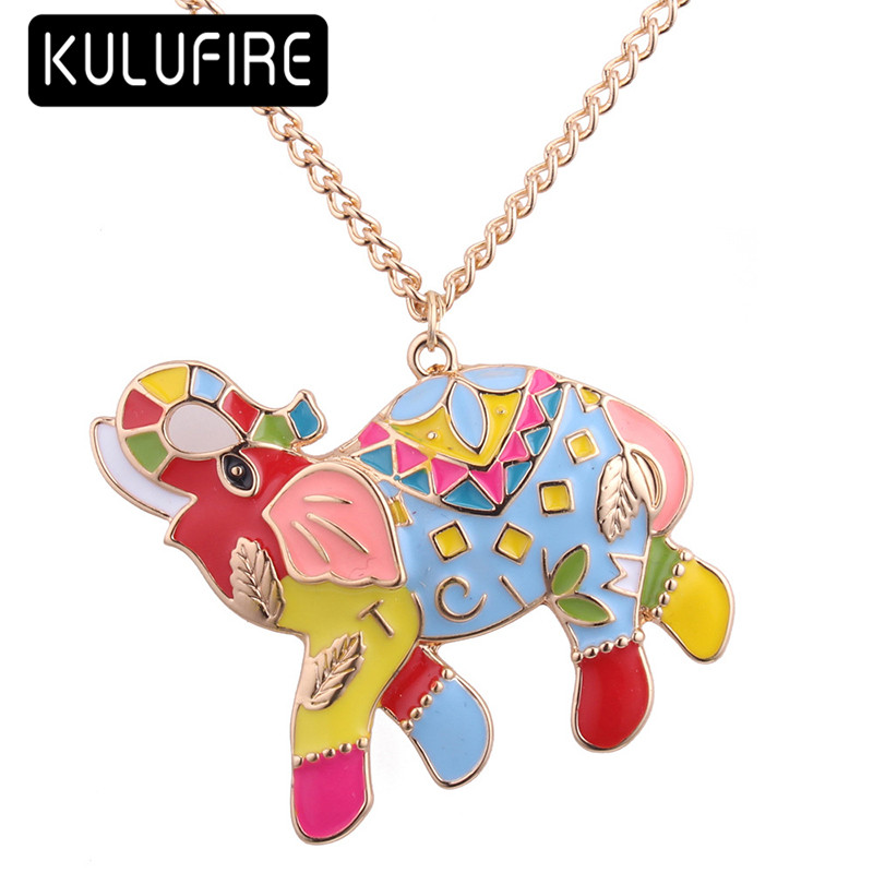 KULUFIRE colorful statement necklace anime elephant pattern steampunk charms mujer moda  ...