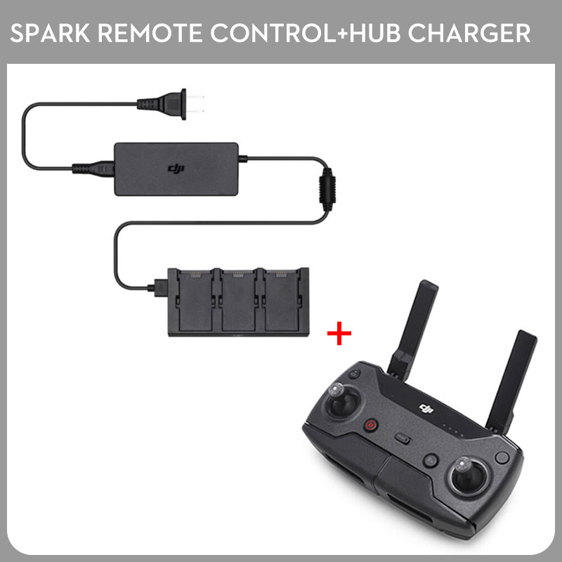 Original DJI Spark Remote Controller has Wi-Fi Signal Transmission System + Spark Battery Charging Hub Charger Part Kit dji spark drone 3 in 1 car charger battery charging