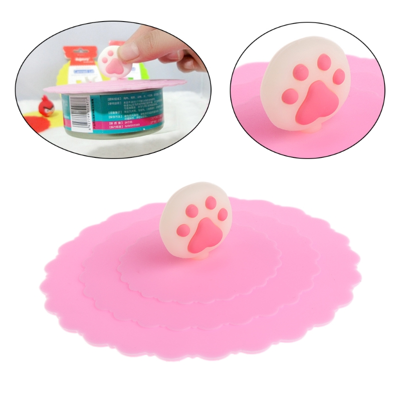 Pet Food Can Cover Silicone Storage Cap Fresh Lid For Dog Cat Reusable Color Random 090