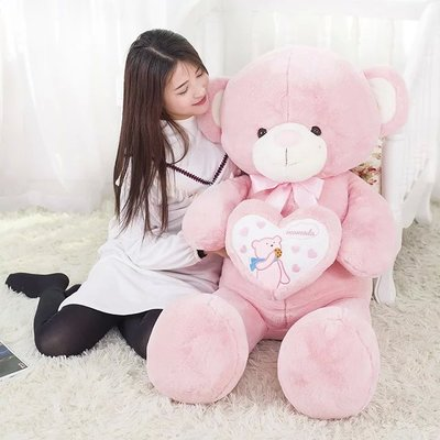 large teddy bear 100cm plush toy love heart bear doll soft throw pillow, Christmas birthday gift x043 large 90cm cartoon pink prone pig plush toy very soft doll throw pillow birthday gift b2097