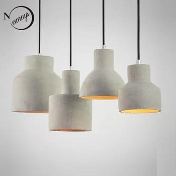 Vintage art deco cement hanging pendant lamp 220v E27 LED light with switch lighting fixture for restaurant living room bedroom