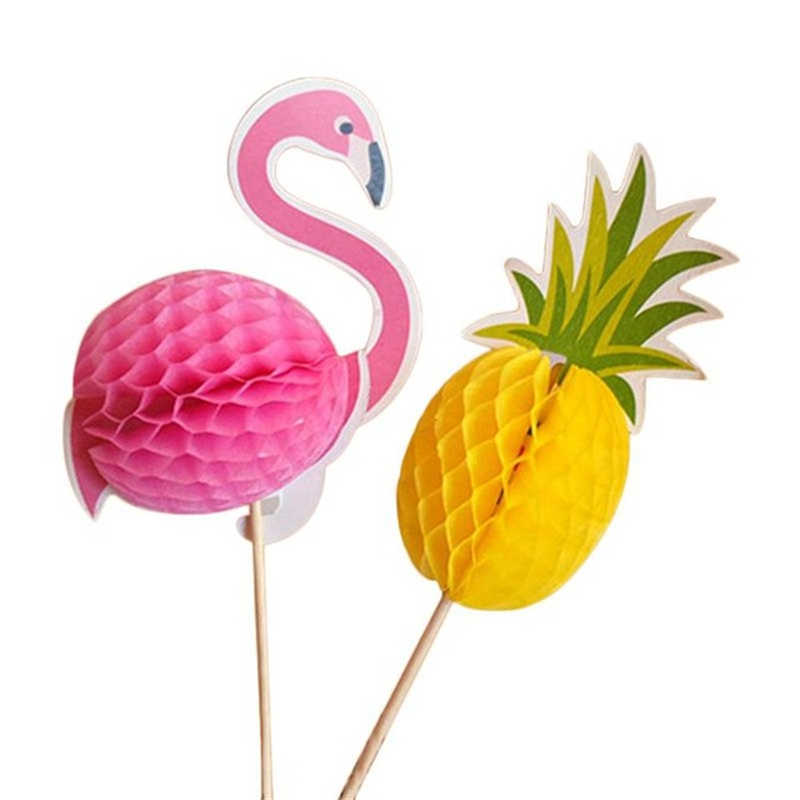 10 Pcs 3D Abacaxi Decoração Flamingos Flamingo Palito de Frutas Bolo de Casamento Decorações Do Partido Verde Decoração de Halloween. Q