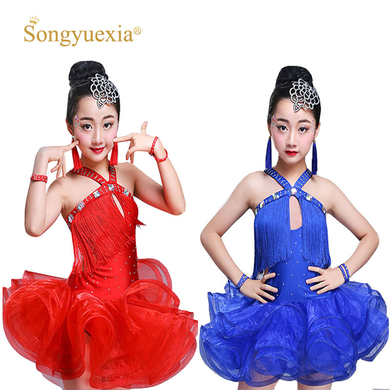818111278 Songyuexia children Tassel Latin dance Skirt Paillette Show stage dancewear  Girl Thick And Lading Dance Skirt