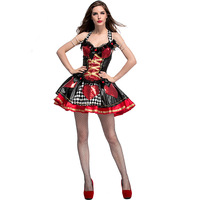 Alice In Wonderland Red Queen Costume Cosplay Costume Poker Red Queen Of Hearts Costume Female Elegant Dress Cosplay S XL