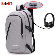 HeloFrn Casual Anti Theft Backpack Men Women Bag Multi Color Bagpack Laptop Earphone Hole Travel Mochila