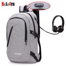 HeloFrn Casual Anti Theft Backpack Men Women Bag Multi Color Bagpack Laptop Earphone Hole Travel Mochila
