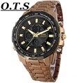 2016 Función Del Deporte Reloj de Los Hombres de Lujo de Marca Hombre Reloj Analógico LED Relojes Digitales para Los Hombres de Cuarzo Militar de Los Hombres de Acero Completo reloj de pulsera