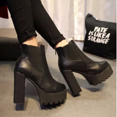 2015 Fashion Quality Winter Ankle Boots High Heels Block Thick Shoes Women'S Waterproof Platform Leather Genuine - Leicpsilverc shiny Store store