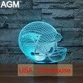 New England Patriots NFL de Fútbol 3D Casco De Acrílico lámpara de Mesa Táctil 7 Colores Que Cambian lámparas de Escritorio USB 3D LLEVÓ la Luz de Noche Para Niños