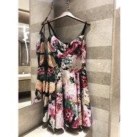 2019 Летнее платье Цветочный пляжное, богемное, с принтом платье слинг сексуальное платье 100% хлопок пион принт Слинг платье