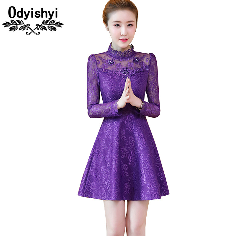 Spring Lace Party Dress Beautis Women 2018 Fashion Stand Collar Floral Hollow Long sleeve Beaded Slim Female Dress Vestido HS230