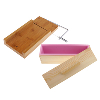 Wooden Box, Silicone Soap Loaf Mold Pink and Soap Cutter Wire Slicer, for DIY Soap/Cake/Chocolate Making Tools