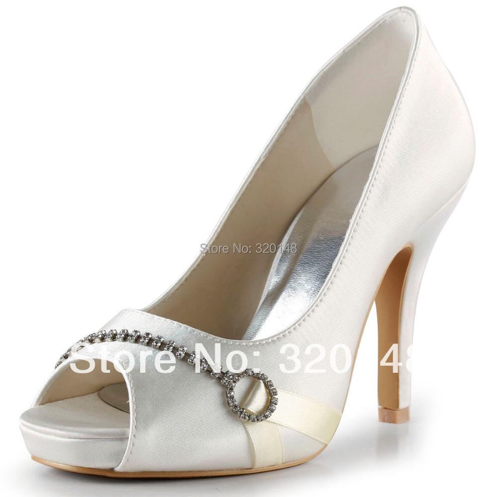 ФОТО Fashion Wedding Pumps EP2041-IP Ivory Peep Toe Rhinestone Stiletto Heel Platform Satin 4