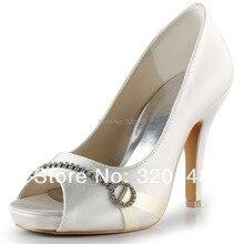 Fashion Wedding Pumps EP2041-IP Ivory Peep Toe Rhinestone Stiletto Heel Platform Satin 4″ Bridal High Heel Shoes