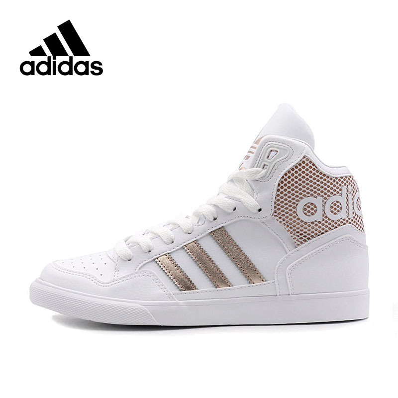 Adidas High-top Skateboarding Shoes Official New Arrival White Gold Adidas Originals Women's Skateboarding Shoes Sports Sneakers цена 2017