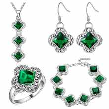 A thick silver plating jewelry set aliexpress explosion katami jewelry trade wholesale clover progenitor Emerald