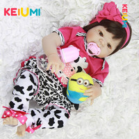 Lifelike 23 Inch Reborn Baby Dolls Full Silicone Vinyl Body Babies Doll Waterproof Girl Toys Looks Like Pink Cows bebe Reborn